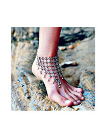 Fashion Silver Color Hollow Out Flower Shape Decorated Simple Design Alloy Fashion Anklets