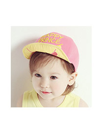 Cute Pink Letter Embroidery Decorated Color Matching Design Cotton Children's Hats