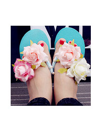 Trendy Blue Flower&pearl Decrated Simple  Flat  Beach Shoes