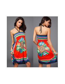 Trendy Orange Big Flower Pattern Decorated Hammock Strapless Loose Dress