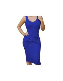 Sexy Sapphire Blue Sleeveless Decorated Pure Color Tight Long Dress