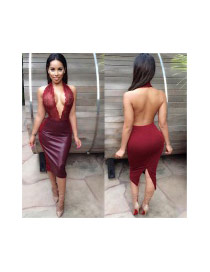 Sexy Red Hollow Out Embroidery Decorated Deep V Blackless Tight Dress