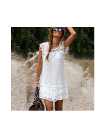 Sweet White Lace Flower Decorated Sleeveless Loose Dress