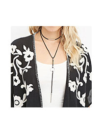 Fashion Black I Letter & Circle Pendant Decorated Double Layer Necklace