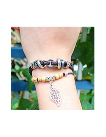 Bohemia Coffee Hollow Out Leaf Pendant Decorated Multilayer Bracelet