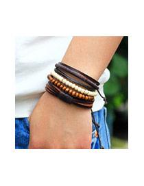 Vintage Coffee Beads Weaving Decorated Multilayer Simple Bracelet