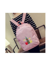 Sweet Pink Embroidery Tower Pattern Decorated Pure Color Backpack