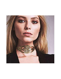 Exaggerated Gold Color Irregular Shape Decorated Hollow Out Simple Necklace