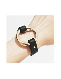 Vintage Black+gold Color Metal Round Shape Decorated Pure Color Bracelet