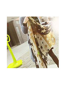 Fashion Multi-color Star Shape Pattern Decorated Simple Scarf