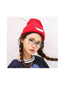 Fashion Claret Red Letter Bowllcb Decorated Pure Color Design Kintting Hat