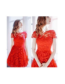 Trendy Red Flower Pattern Decorated Round Neckline Dress