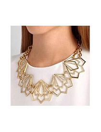 Exaggerated Gold Color Hollow Out Triangle Decorated Simple Jewelry Sets
