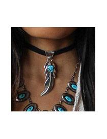 Vintage Black Oval Gemstone&leaf Decorated Double Layer Necklace