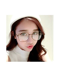 Fashion Black Square Shape Frame Decorated Simple Glasses