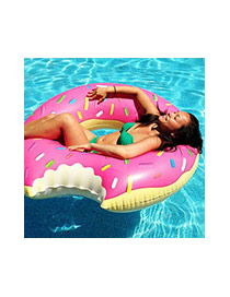 Lovely Pink Doughnut Pattern Decorated Simple Swim Ring