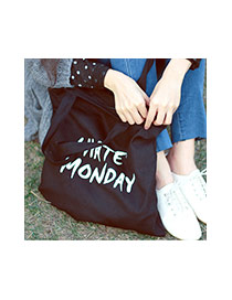 Fashion White Letter Pattern Decorated Pure Color Canvas Bag