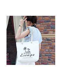 Lovely Black Tree&letter Pattern Decorated Square Shape Canvas Bag