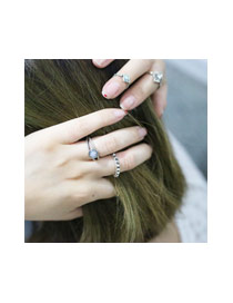 Fashion Silver Color Oval Shape Diamond Decorated Arrow Shape Ring (6pcs)