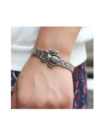 Fashion Silver Color Spider Decorated Pure Color Design Simple Bracelet