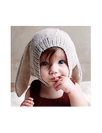 Sweet Pink Bunny Ears Decorated Pure Color Baby Gorro