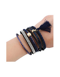 Bohemia Dark Blue Tassel Pendant Decorated Multi-layer Bracelet
