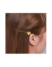 Fashion Gold Color Flower Decorated Pure Color Design Hair Clip