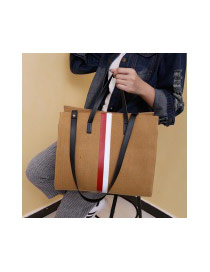 Fashion Khaki Color-matching Decorated Square Shape Bag