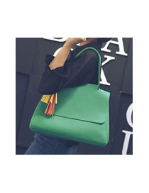 Delicate Green Tassel Decorated Pure Color Design Bag