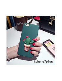 Cute Green Cactus Plants Decorated Pure Color Iphone7plus Case