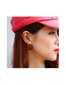 Personality Red Square Diamond Decorated Simple Design Crstal Korean Earrings