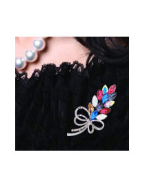 Fashion Multi-color Pearls&diamond Decorated Flower Shape Color Matching Brooch