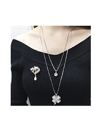 Fashion Silver Color Strip Shape Pendant Decorated Simple Double Layer Necklace