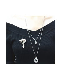 Sweet Black Diamond&waterdrop Shane Pendant Decorated Double Layer Necklace