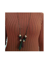 Sweet Green+coffee Geometric Tassel Pendant Decorated Simple Necklace