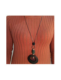 Sweet Black Flower&round Shape Pendant Decorated Simple Necklace