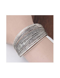 Fashion Silver Color Pure Color Decorated Multi-layer Opening Bracelet