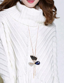 Elegant Gold Color Butterfly Shape Pendant Decorated Simple Long Chain Sweater Necklace