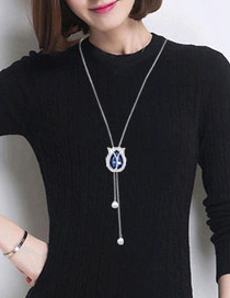 Elegant Blue Oval Shape Pendant Decorated Simple Long Chain Sweater Necklace