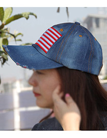Fashion Light Blue Flag Pattern Decorated Color Matching Sunshade Sport Cap