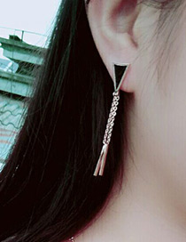 Fashion Rose Gold +black Triangle Shape Decorated Long Metal Tassel Earrings