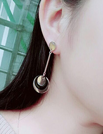 Fashion Rose Gold +black Round Shape Decorated Simple Long Chain Earrings