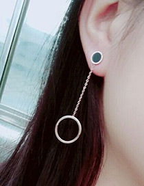 Fashion Rose Gold +black Hollow Out Round Shape Decorated Simple Earrings
