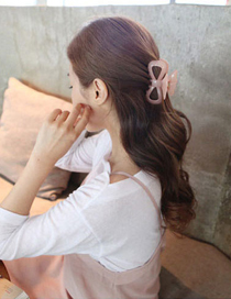 Elegant Pink Pure Color Decorated Simple Hair Clip