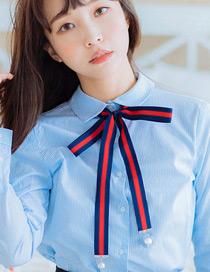Trendy Navy Bowknot Decorated Color Matching Necklace