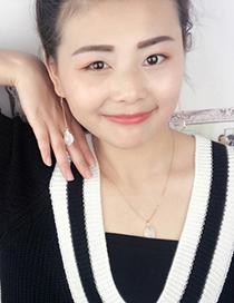 Fashion White Stone Shape Pendant Decorated Earrings