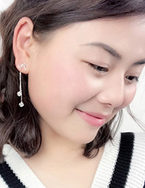Lovely Zircon Bowknot Shape Decorated Long Earrings