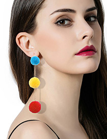 Trendy Multi-color Fuzzy Balls Decorated Color Matching Pom Earrings