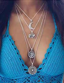 Fashion Silver Color Moon&elephant Shape Decorated Multi-layer Necklace