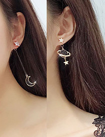 Elegant Gold Color+black Moon&star Shape Decorated Long Earrings